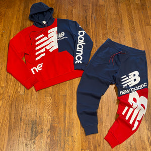 NEW BALANCE SPLICE HOODY SWEATSUIT Men's - NAVY/RED/WHITE
