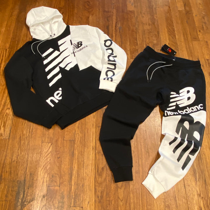 NEW BALANCE SPLICE HOODY SWEATSUIT Men's - BLACK/WHITE