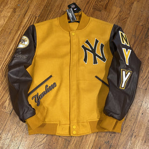 Pro Standard LUXURY ATHLETIC COLLECTION JACKET NEW YORK YANKEES Men's-WHEAT/BROWN
