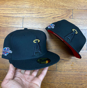 New Era Cap 5950 ANAHEIM ANGELS BLK/BLK RED BOTTOM 2002 WS-BLACK