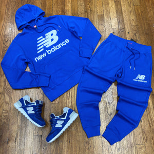 New Balance ATHLETTIC ESSE ST LOGO POHO SWEATSUIT Men's - ROYAL BLUE/WHITE - Moesports