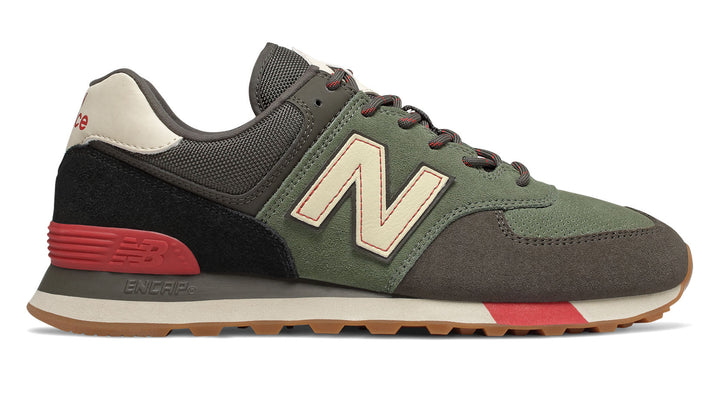 New Balance 574 Classics TRADITIONNELS Men's - OLIVE GREEN/BLACK/RED/BEIGE - Moesports