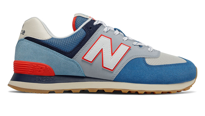 New Balance 574 CLASSICS TRADITIONNELS Men's- Mako Blue with Turtle Dove & Neo Flame - Moesports