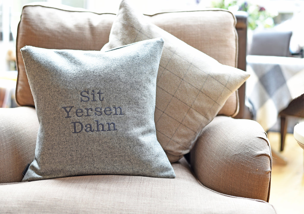 """Sit Yersen"" Dialect Cushion - Pookie - Wookie"