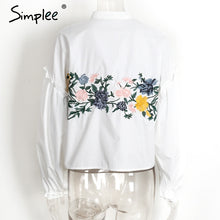 SIMPLEE Floral Embroidered Long Sleeve Blouse