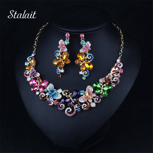 STALAIT Crystal Butterfly Necklace & Earrings Set