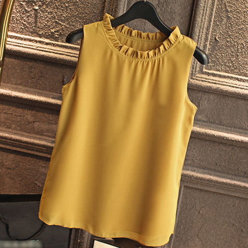 GAREMAY Chiffon Ruffle Neck Sleeveless Pullover Top