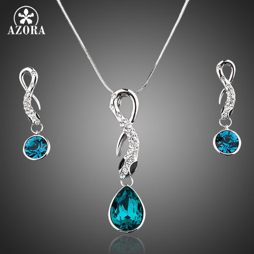 AZORA Blue Crystal Pendant and Drop Earrings Set