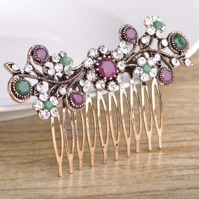 BLUCOME Rhinestone Floral Hair Comb