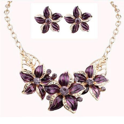 TOMTOSH Enamel & Crystal Necklace & Earrings Set
