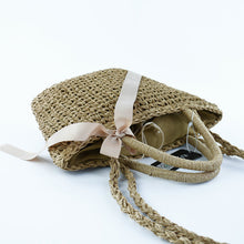 RDYWBU Ribbon & Bow Trim Woven Straw Beach Bag