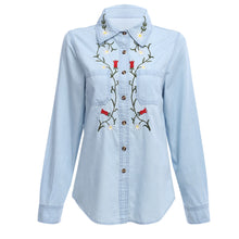 AZULINA Floral Embroidery Denim Blouse