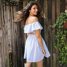 SIMPLEE Off Shoulder Ruffle Sun Dress