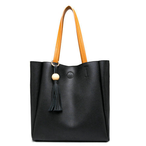 QIAOBAO Genuine Leather Shoulder Tote Bag