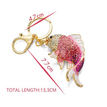DALAFUL Crystal & Enamel Fish Purse Charm Key Chain