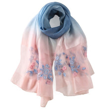 DANKEYISI Floral Embroidered Silk & Wool Scarf