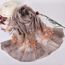 DANKEYISI Floral Embroidered Wool & Silk Scarf
