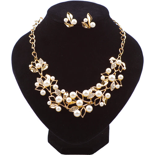 STALAIT Simulated Pearl & Crystal Necklace & Earrings Set