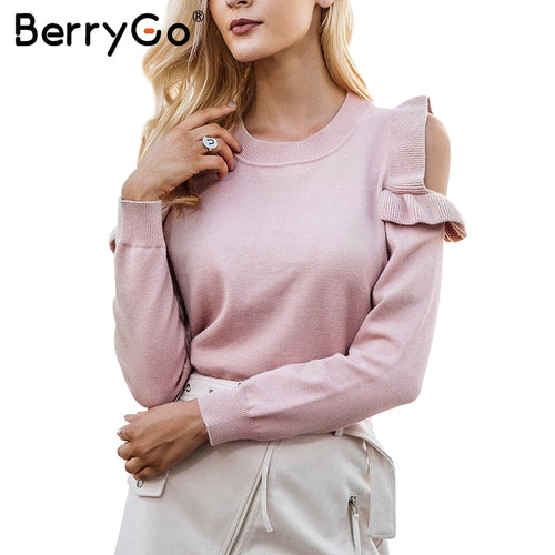 BERRYGO Cold Shoulder Knit Sweater