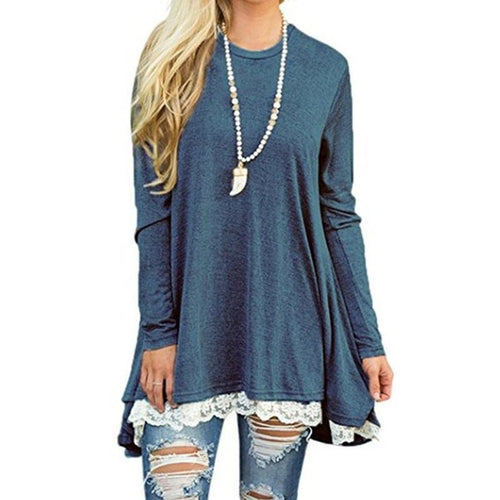 HERLOVA Lace Trim Tunic Pullover Top