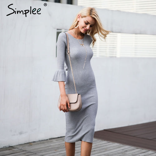 SIMPLEE Flare Sleeve Knit Sweater Dress