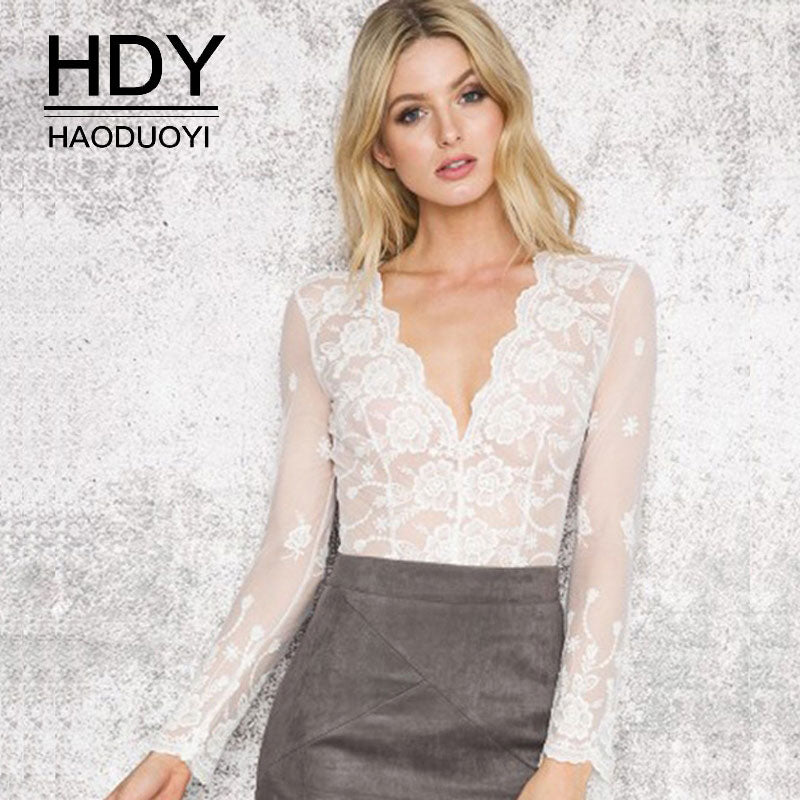 HAODUOYI Sheer Lace Fitted Blouse