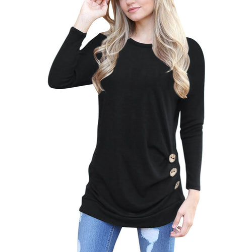 LIVAGIRL Button Accent Pullover Top