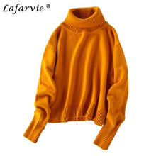 LAFARVIE Cashmere Blend Turtleneck Sweater