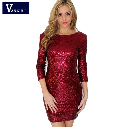 VANGULL Sequin V-Back Dress