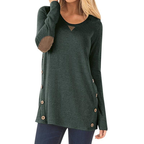 HERLOVA Button Accent Pullover Top