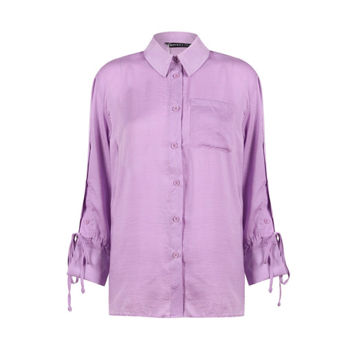 HAODUOYI  Chiffon Button Sleeve Blouse