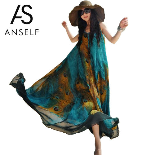 ANSELF Peacock Feather Print Maxi Dress