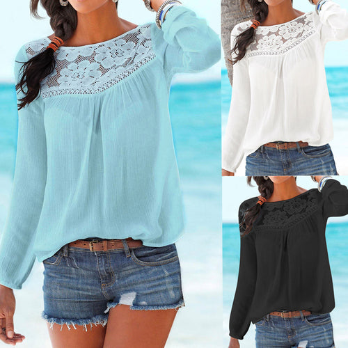 FEITONG Lace Trim Casual Blouse