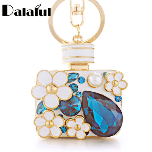 DALAFUL Floral & Pear Crystal Purse Charm Key Chain