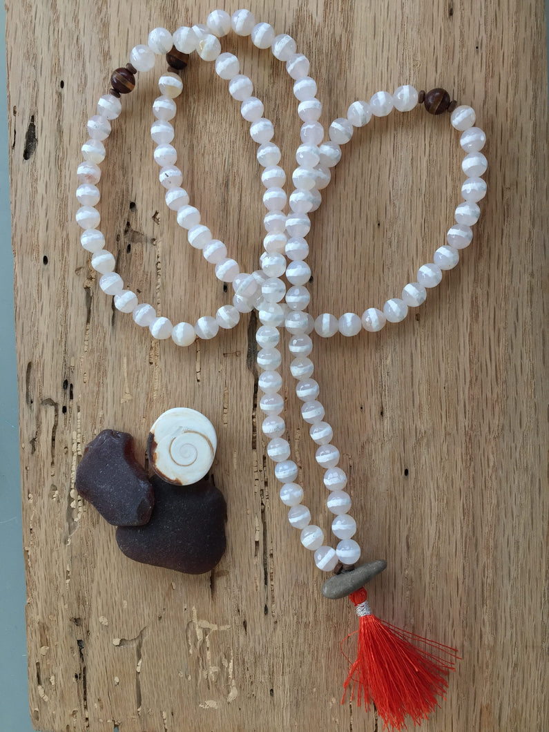 White Etched Agate Mala