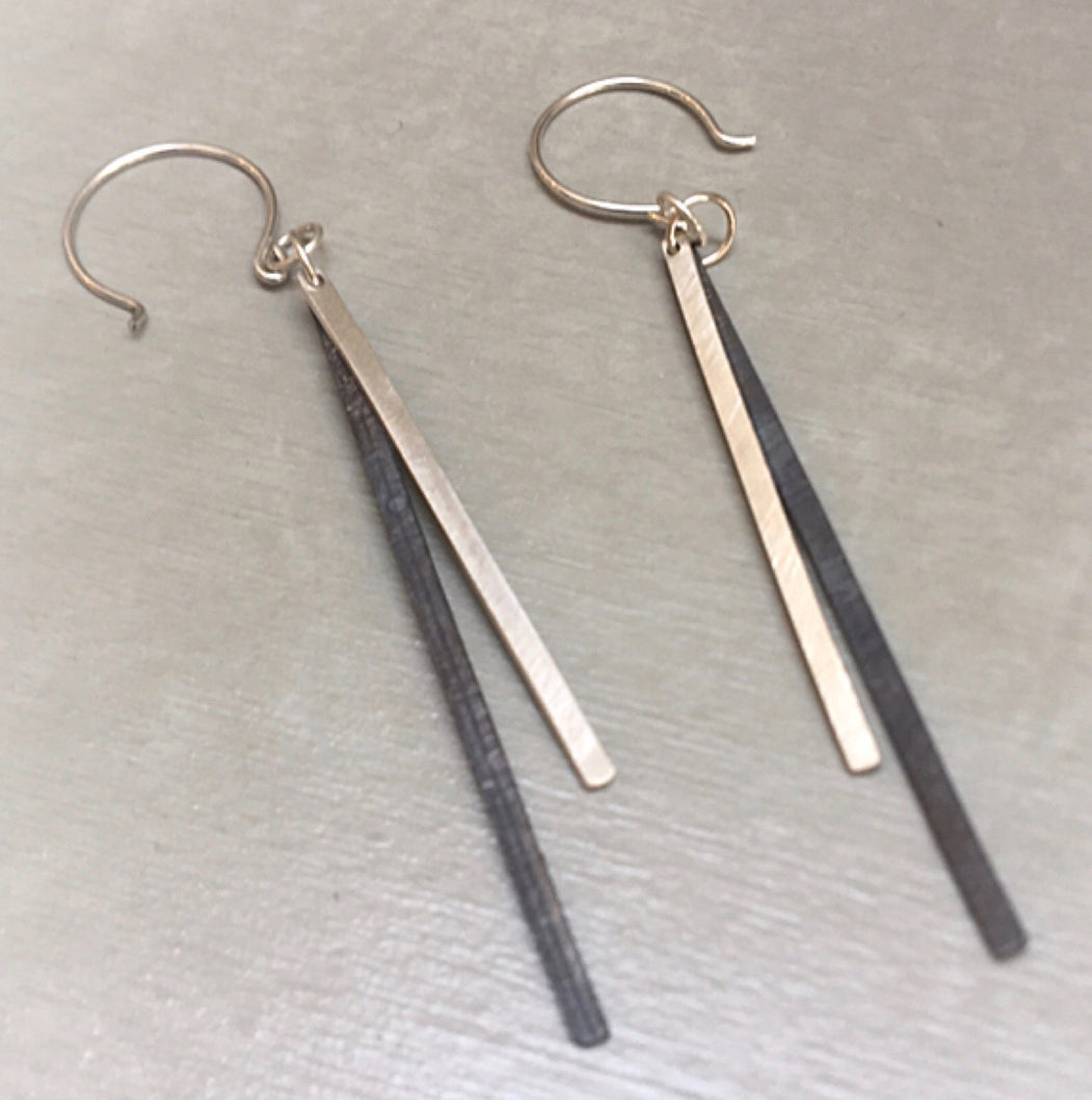 Brushed Bright and Oxidized Sterling Dangly Earrings