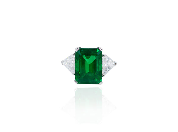 Three Stone Zambian Emerald Ring