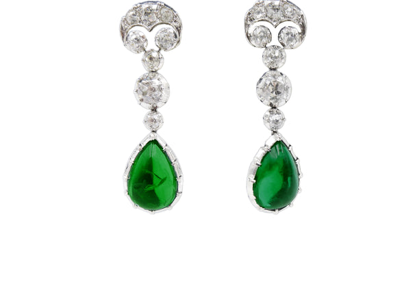 5 Carat Each Emerald Drop Earrings