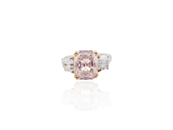 Three Stone Pink Diamond Ring