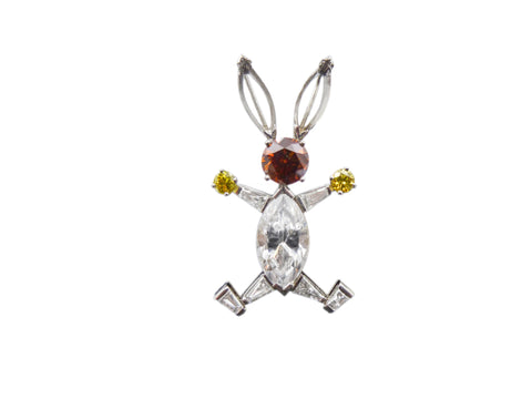 Multicolored Diamond Rabbit Brooch