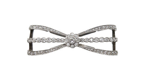Diamond and Platinum Bow Pin