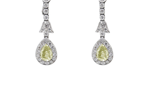 Light Yellow Diamond Drop Earrings