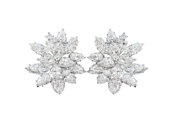 Pear and Marquise Shaped Diamond Earrings