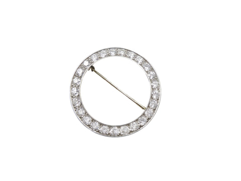 Platinum and Diamond Round Brooch