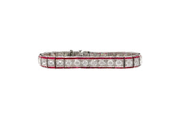 1920's Ruby and Diamond Straight Line Bracelet
