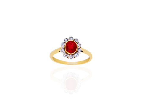 Small Ruby and Diamond Ring