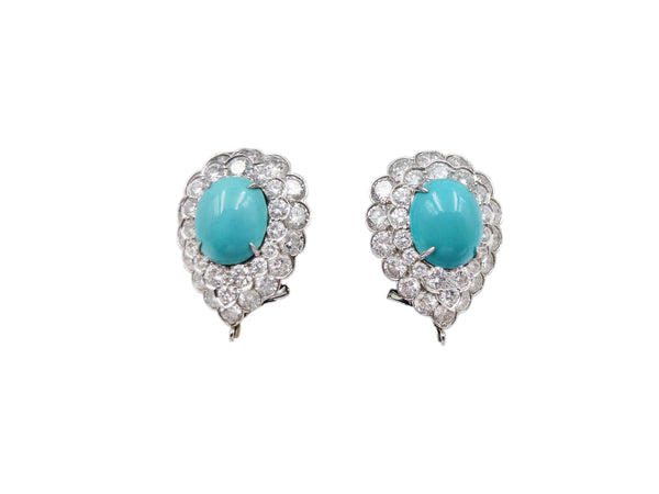 Van Cleef and Arpels Turquoise and Diamond Ear Clips