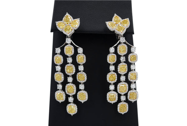 Vivid Yellow Diamond Chandelier Earrings