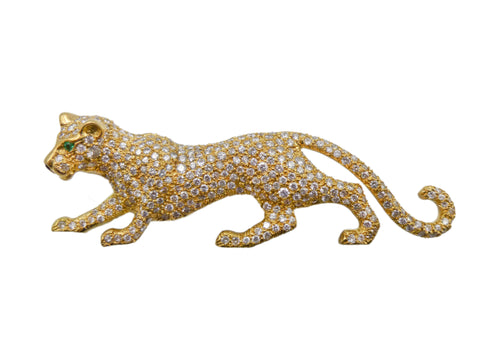 Gold and Diamond Panther Brooch