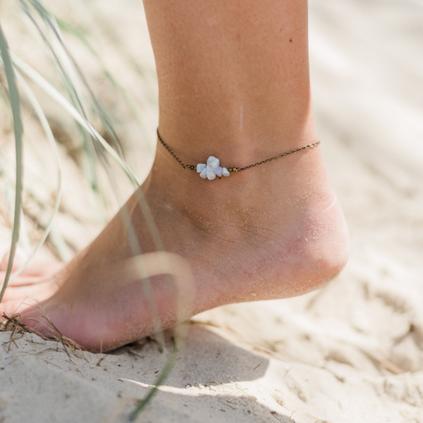Blue Lace Agate Chip Bead Bar Anklet